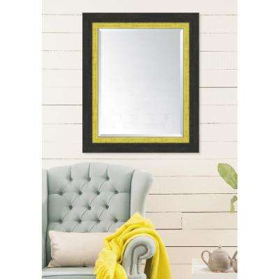 30 in. x 36 in. Framed Slate Black Large and Yellow Mirror