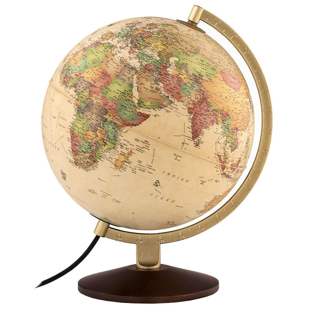 Waypoint Geographic Little Journey 10 in. Illuminated Desktop Globe, Antique If you are looking for a more finished look for your home or office but lack the needed space of a larger globe, the Little Journey is the perfect globe for you! This globe features all the sought after features of the larger globes, such as a metal numbered meridian, real wood base and illumination.You will find this to be an excellent globe in a compact size. The illumination feature can highlight the cartographic features on the globe or serve as an excellent night light, easily operated with the inline on/off switch. An excellent color pallet is designed for modern decor making it easy to identify locations around the globe! Color: Antique.
