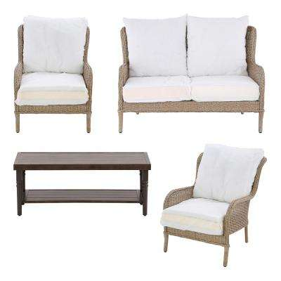 Lemon Grove Custom 4-Piece Wicker Patio Conversation Set with Cushions Included, Choose Your Own Color