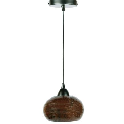 1-Light Hammered Copper Ceiling Mount Globe Pendant in Oil Rubbed Bronze