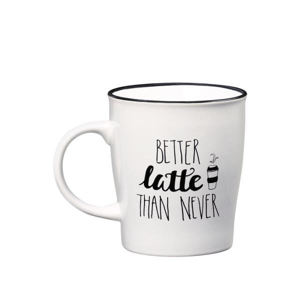 Amici Home Better Late Than Never 25 oz. White-Black Ceramic Coffee