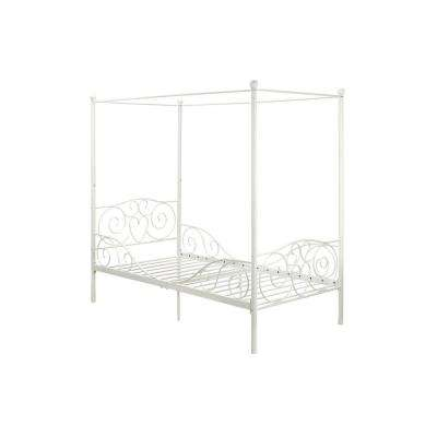 Capri White Twin Size Metal Bed Frame