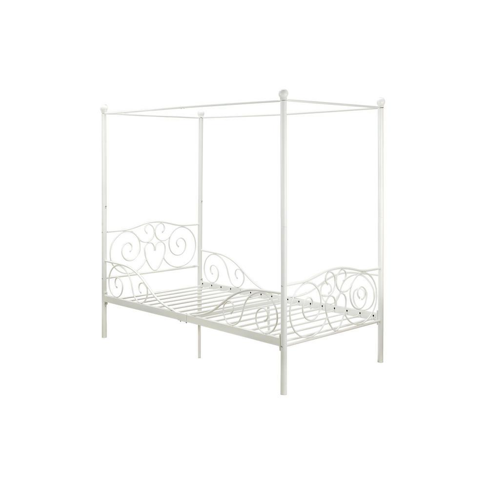 DHP Capri White Twin Size Metal Bed Frame DE77681