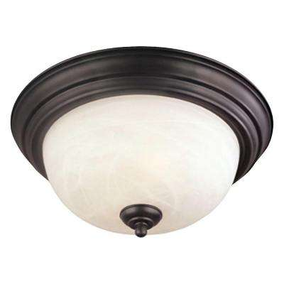 2-Light Painted Bronze Ceiling Flushmount