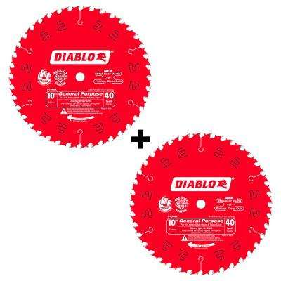 10 in. x 40-Tooth General Purpose Saw Blade (2-Pack)