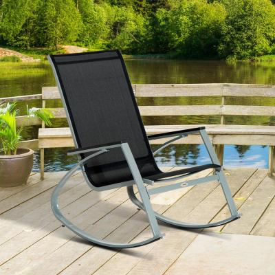 Modern Front Porch Sling Outdoor Patio Rocking Chair for Porch or Patio with Comfortable Mesh Black/Silver
