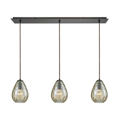 Lagoon 3-Light Linear Pan in Oil Rubbed Bronze with Champagne Plated Water Glass Pendant