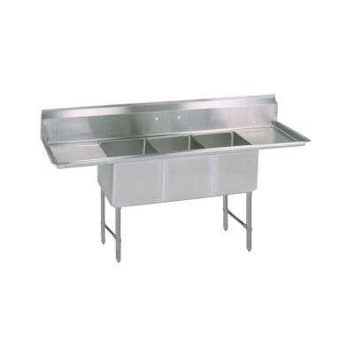 16/304 Freestanding Stainless Steel 87 in. L Triple Bowl Kitchen Sink with Drains