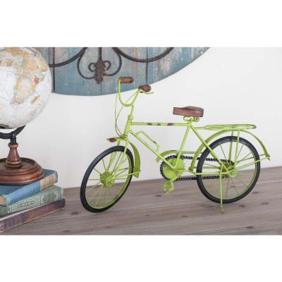 Litton Lane 12 in. x 19 in. Vintage Iron Bicycle Decorative Sculpture in Lime Green
