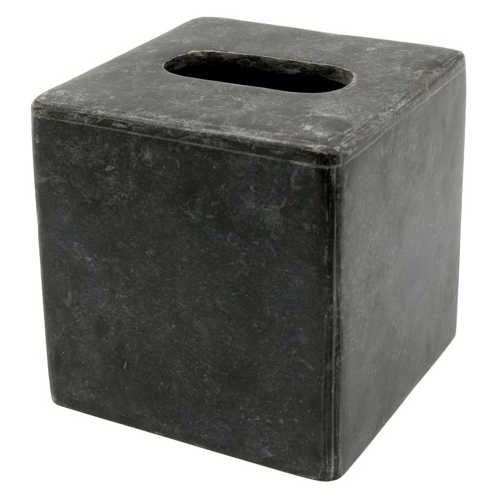 Creative Home Natural Charcoal Marble Square Tissue Box Holder Tissue Cover for Bathroom, Livingroom Countertop Organize