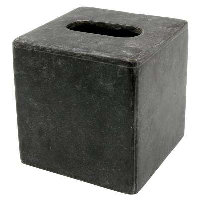 Natural Charcoal Marble Square Tissue Box Holder Tissue Cover for Bathroom, Livingroom Countertop Organize