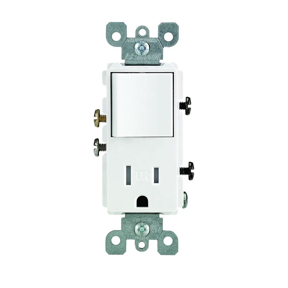 Leviton Decora 15 Amp T&er Resistant Combo Switch and Outlet White