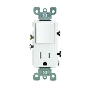wiring a light switch and outlet combination leviton decora 15 amp tamper resistant combo switch and ... wiring a light switch and outlet #8