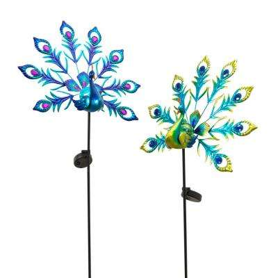 Solar Peacock Yard Stakes (Set of 2)