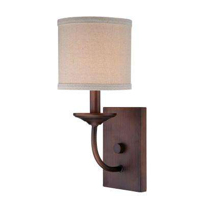 Rubbed Bronze Candle Sconce with Beige Linen Shade