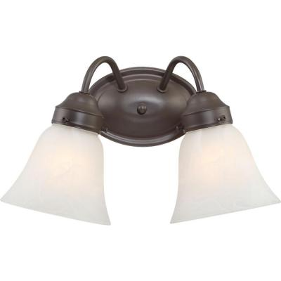2-Light Indoor Antique Bronze Bath or Vanity Light Wall Mount or Wall Sconce with Alabaster Glass Shades