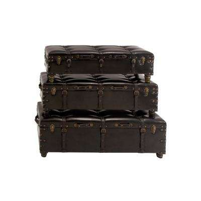Brown Faux Leather Storage Benches (Set of 3)