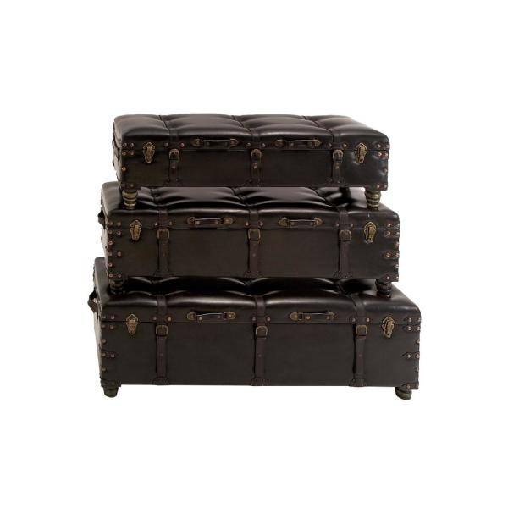 Litton Lane Brown Faux Leather Storage Benches (Set of 3) 74475