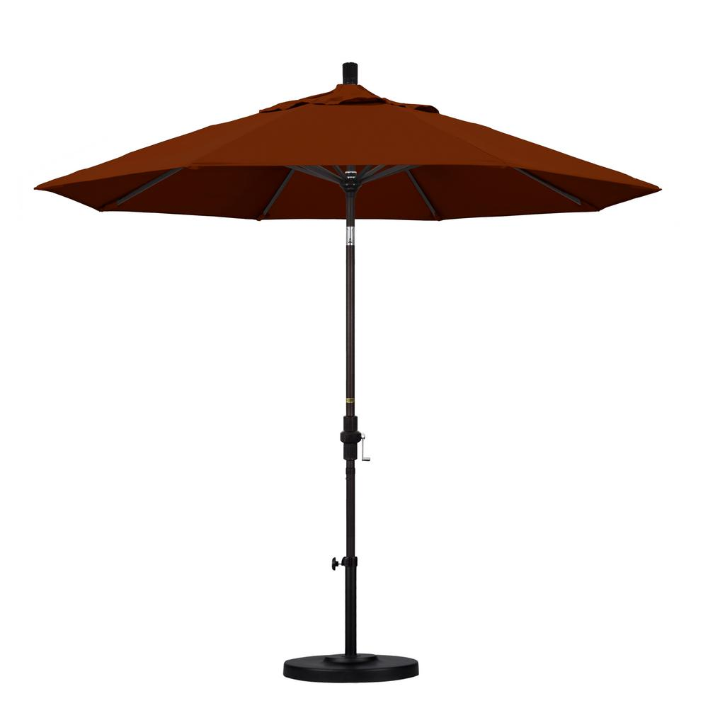 California Umbrella 9 ft. Aluminum Collar Tilt Patio Umbrella in Brick Pacifica