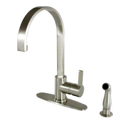 Single-Handle Standard Kitchen Faucet with Side Sprayer in Satin Nickel