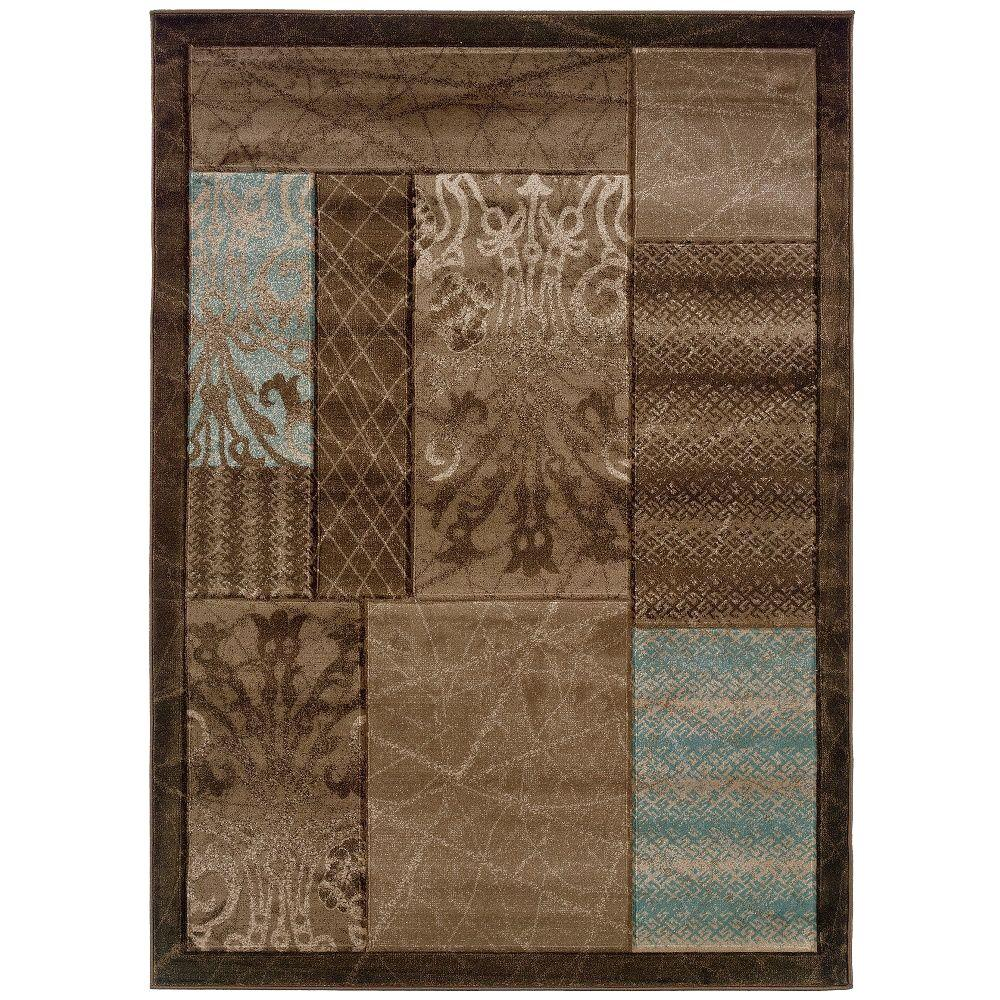 Milan Collection Brown and Aqua 5 ft. x 7 ft. 7