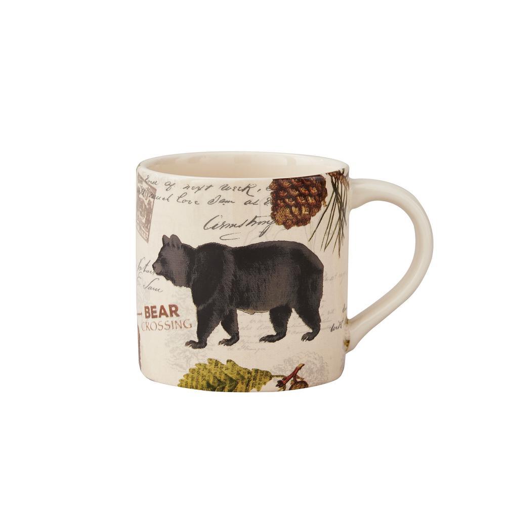 Wildlife Trail 20 oz. Tan Ceramic Bear Coffee Mug (Set of 4)