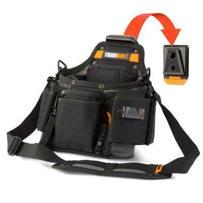 Service Pouch 12.60 in. Tool Bag with 20-Pockets Shoulder Strap and Loops in Black