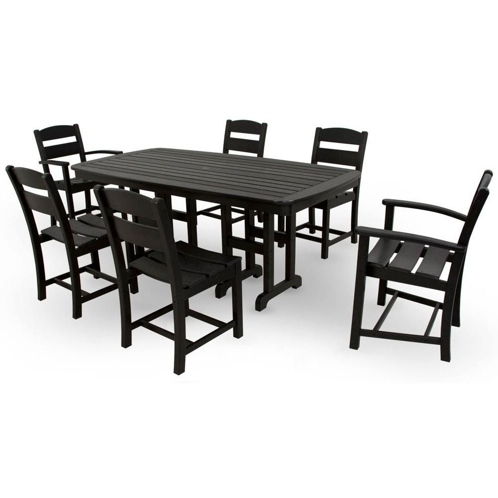 ivy terrace classics black 7 piece plastic outdoor patio dining set rh homedepot com