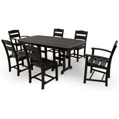 Clics Black 7 Piece Plastic Outdoor Patio Dining Set