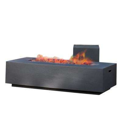 Aidan 56 in. x 15 in. Rectangular Outdoor Gas Fire Pit Table with Tank Holder