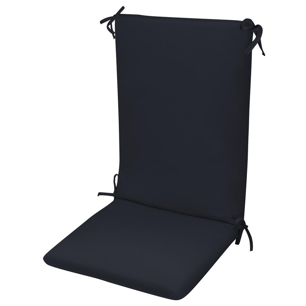 Paradise Cushions High Back Chair Cushion Knife Edge Hinged Solution Dyed Polyester Fiber Fill Navy