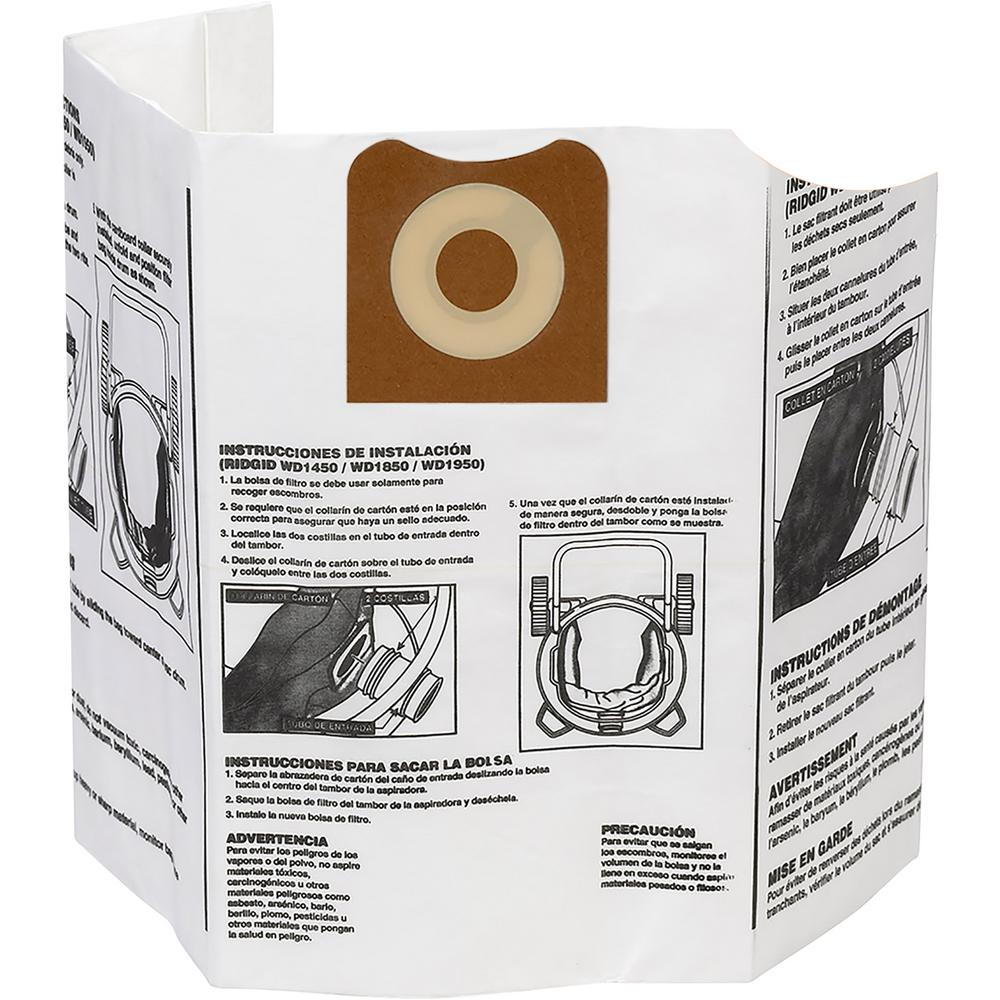 RIDGID High-Efficiency Size A Dust Bags for 12 gal. to 16 gal. RIDGID Wet/Dry Vacs (12-Pack)