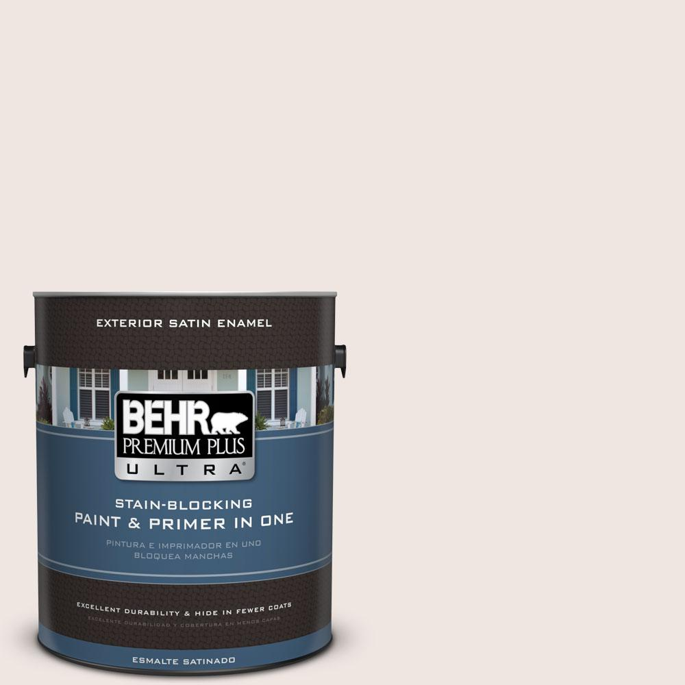 BEHR Premium Plus Ultra 1-gal. #PR-W12 Timid White Satin Enamel Exterior Paint