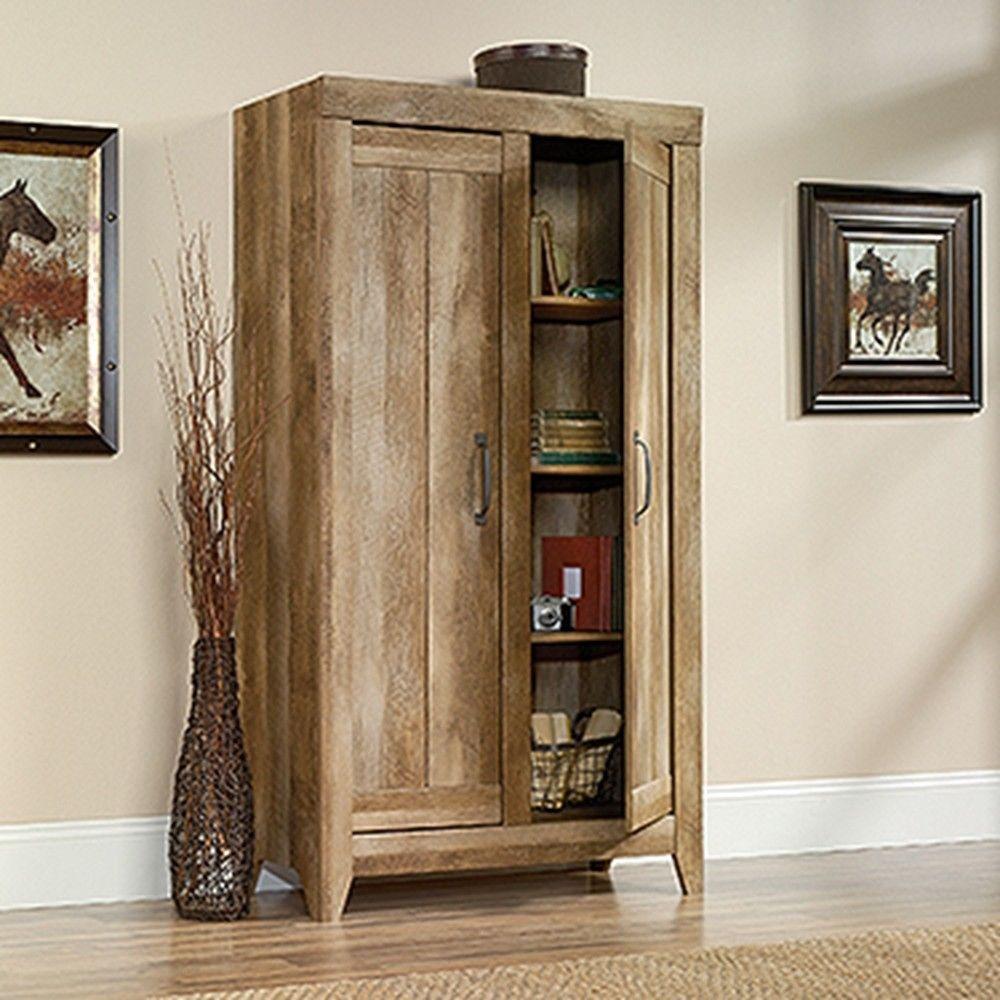 Attractive Adept Craftsman Oak Storage Cabinet