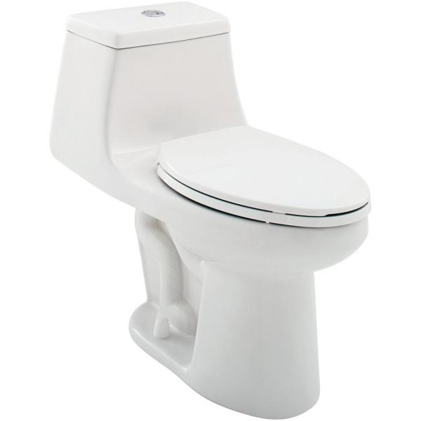 1-Piece 1.1 GPF/1.6 GPF High Efficiency Dual Flush Elongated All-in-One Toilet in White