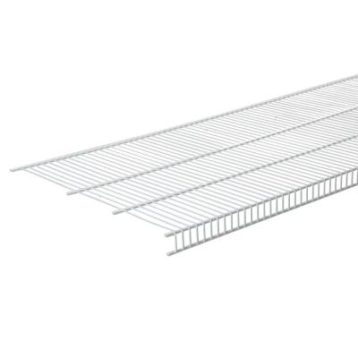 144 in. W x 20 in. D White Steel Close Mesh Ventilated Wall Mounted Wire Shelf