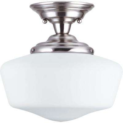 Academy 1-Light Brushed Nickel Semi-Flush Mount Light