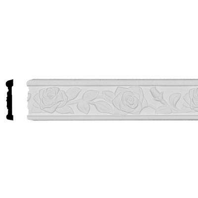 1/2 in. x 2-1/2 in. x 95-3/4 in. Polyurethane Running Rose Chair Rail Moulding