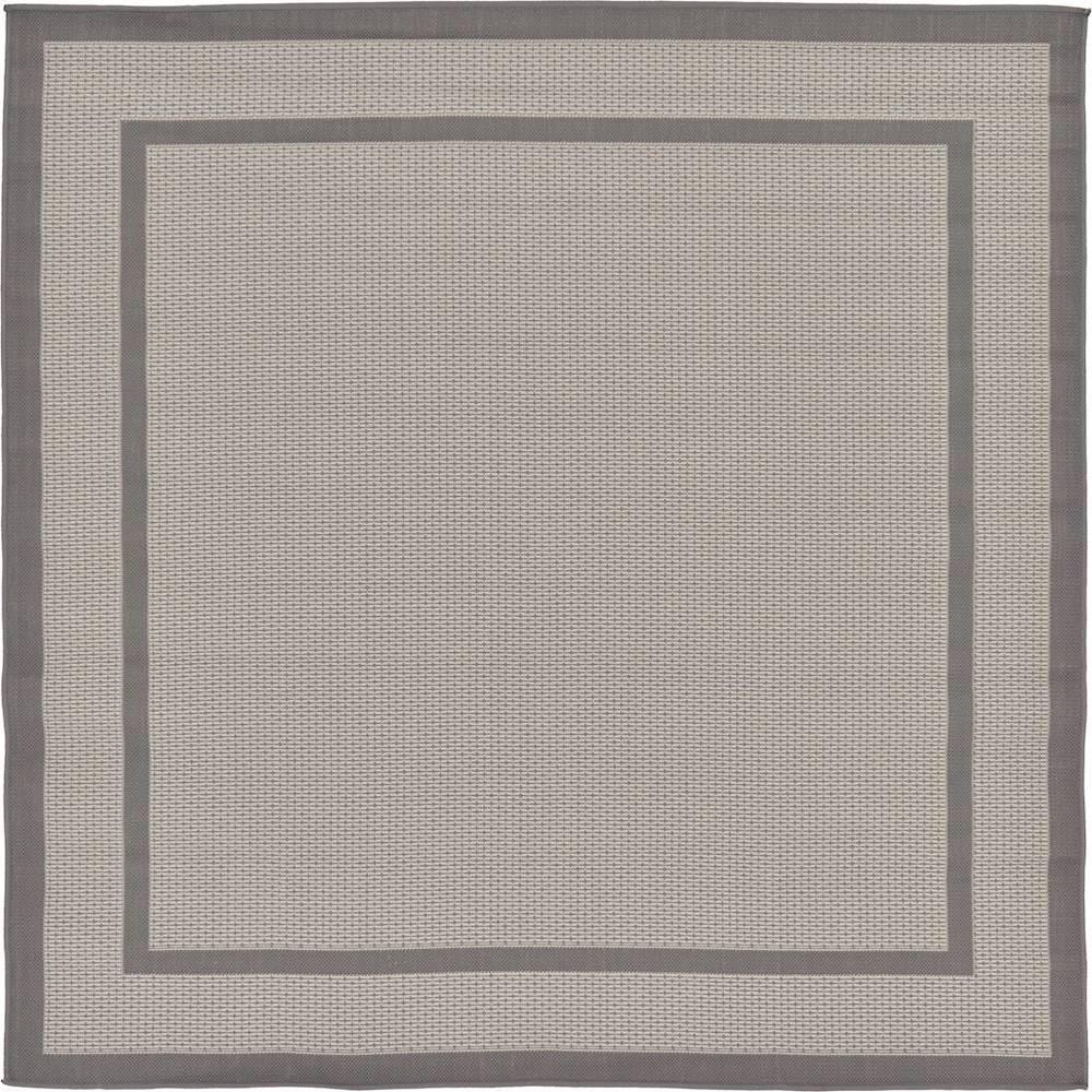 Unique Loom Outdoor Border Dark Gray 6' 0 x 6' 0 Square Rug