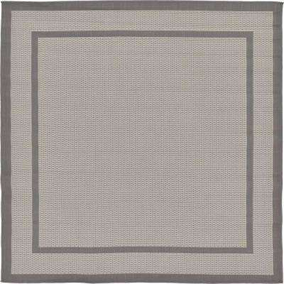 Outdoor Border Dark Gray 6' 0 x 6' 0 Square Rug
