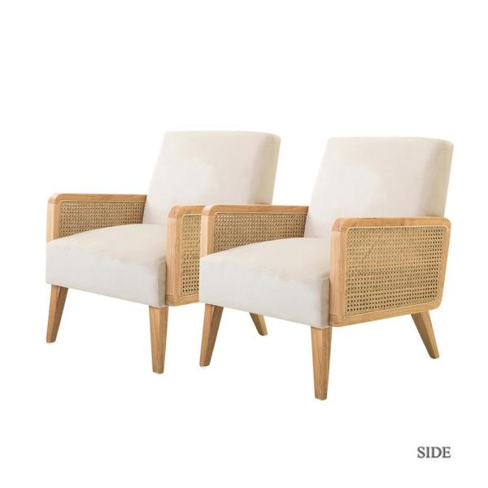 Delphine Beige Cane Accent Chair set of 2
