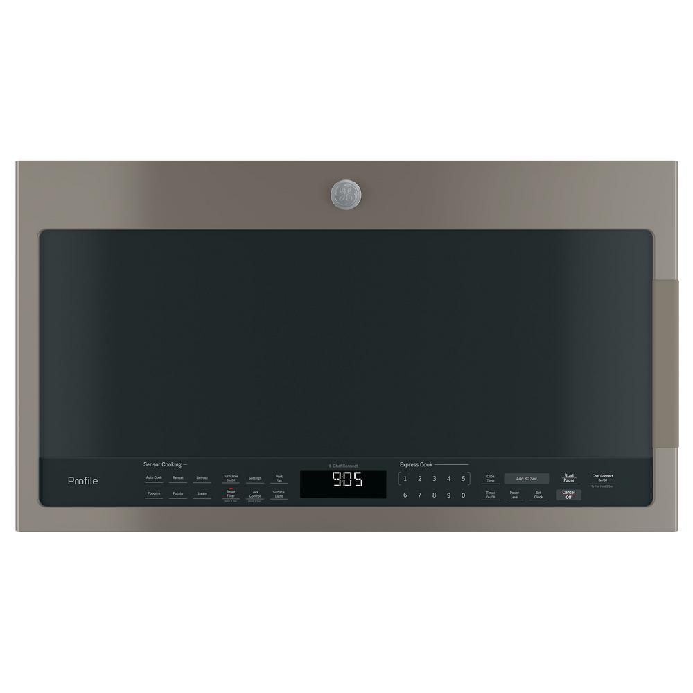GE Profile 2.1 cu. ft. Over the Range Microwave in Slate with Sensor Cooking, Fingerprint Resistant