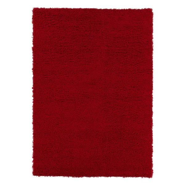 Cozy Shag Collection Red 5 ft. x 7 ft. Indoor Area Rug