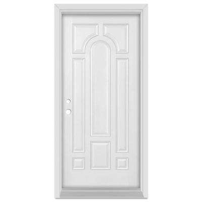 33.375 in. x 83 in. Infinity Right-Hand Inswing 8 Panel Finished Fiberglass Mahogany Woodgrain Prehung Front Door