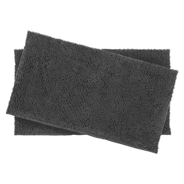 Plush Shag Chenille Gray 2-Piece 17 in. x 24 in. Bath Rug Set