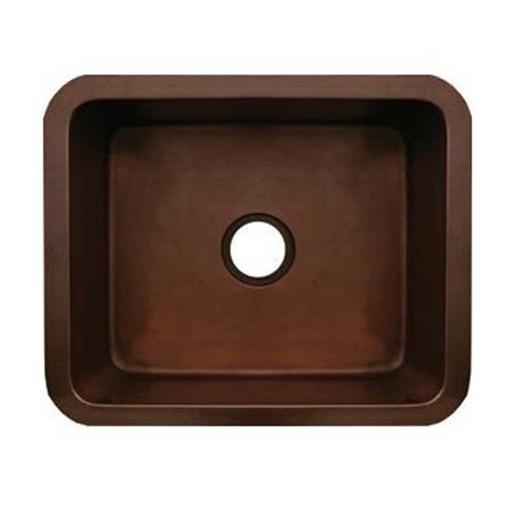 Copperhaus Undermount Copper 21 in. Single Basin Kitchen Sink in Smooth Bronze