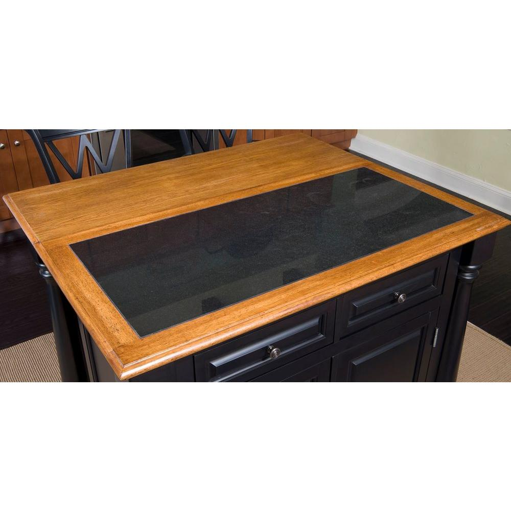 Home Styles Monarch Black Kitchen Island With Seating 5009 ...
