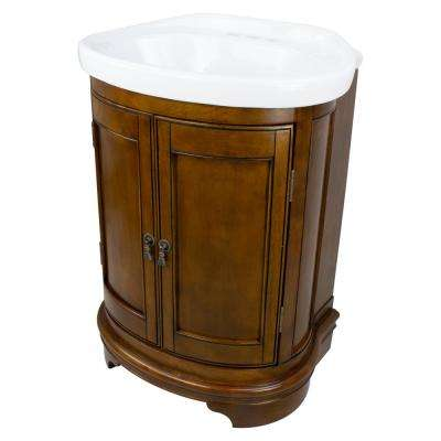 Cote d'Azur 22 in. W x 18 in. D x 31.5 in. H Bath Vanity in Mahogany with Vitreous China Vanity Top in White