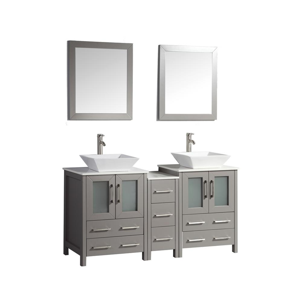Vanity Art Ravenna 60 in. W x 18.5 in. D x 36 in. H Bathroom Vanity in Grey with Double Basin Top in White Ceramic and Mirrors
