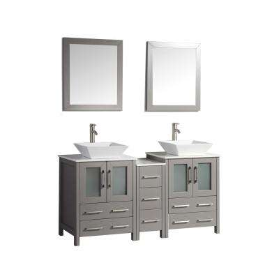 Ravenna 60 in. W x 18.5 in. D x 36 in. H Bathroom Vanity in Grey with Double Basin Top in White Ceramic and Mirrors